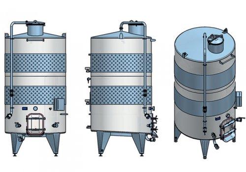 Rezervor pentru stocare vin cu fund plan inclinat si termomantale