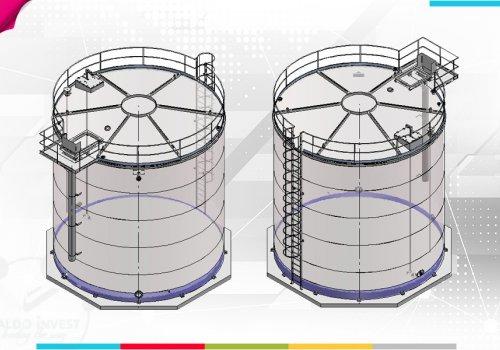 Rezervor pentru stocare vin pe postament de beton